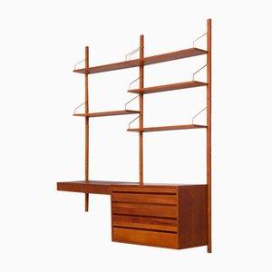Mueble de pared Royal de dos compartimentos con escritorio y cajonera de Poul Cadovius, años 60