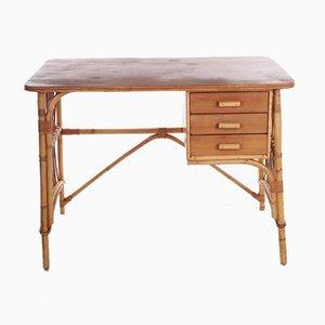 Schreibtisch aus Bambus & Rattan von Louis Sognot, Frankreich, 1950er