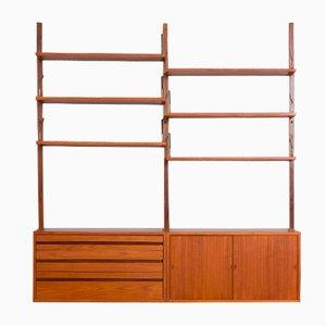 Unidad de pared Royal de teca con 2 armarios y 6 estantes de Poul Cadovius, años 60