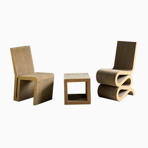 Silla Wiggle, silla auxiliar y mesa auxiliar o taburete de Frank Gehry para Vitra, 2001. Juego de 3