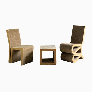Wiggle Chair, Side Chair & Side Table or Stool by Frank Gehry for Vitra, 2001, Set of 3