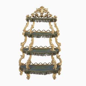 Étagère Baroque Vénitienne Antique en Bois Peint, Italie, 19ème Siècle