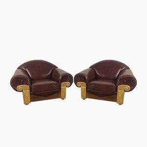 Art Deco Stühle aus Holz & Leder, 1940er, 2er Set