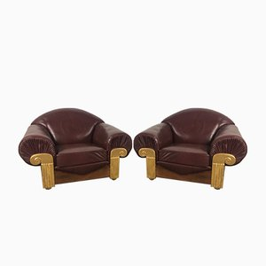 Sedie in stile Art Déco in legno e pelle, anni '40, set di 2