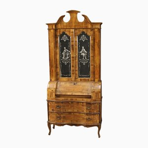 Venetian Trumeau Cabinet Inlaid in Walnut, Maple, Beech and Fruitwood