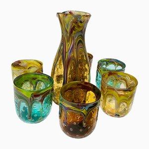 Set da tavola vintage in vetro di Murano, Italia, set di 7