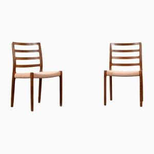 Dänische 85 Esszimmerstühle aus Teak & Wolle von Niels Otto Møller, 1960er, 2er Set