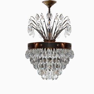 French Crystal Waterfall Chandelier, 1900s