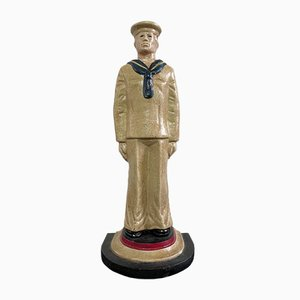 Vintage Cast Iron Sailor Doorstop Depicting Uniformed Figure Painted in Red, White and Blue