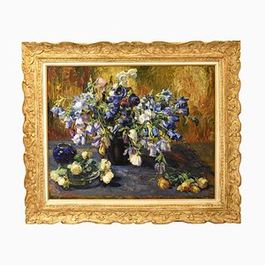 Antique Painting of Bluebells and Roses, Oil on Canvas, 19th Century