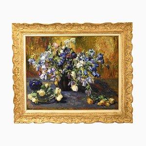 Pintura antigua de campanillas y rosas, óleo sobre lienzo, siglo XIX