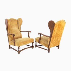 English Armchairs in Velvet and Walnut Wood, Late 19th Century, Set of 2