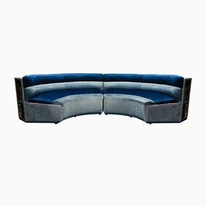 Circular Modular Velvet Sofa, 1970s, Set of 2