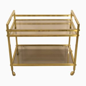 Brass and Smoked Glass Trolley, Italy, 1960s