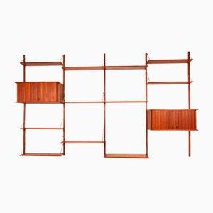 Mueble de pared danés vintage de teca con puertas de persiana, años 60