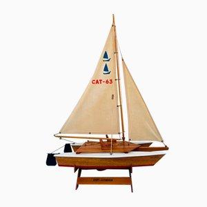 Vintage Handmade Wooden Scale Model of Catamaran Boat