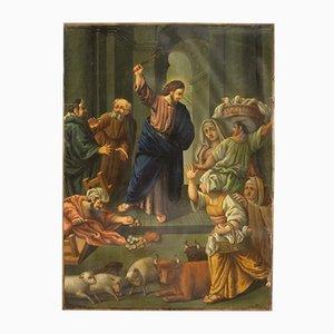 Pintura religiosa, óleo sobre cobre, siglo XIX