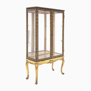 Early 20th Century Italian Showcase Cabinet in Painted Wood and Glass
