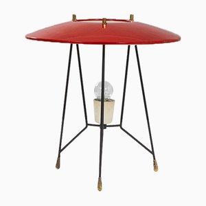 Lampada da tavolo Stilnovo in metallo laccato e dettagli in ottone, anni '50