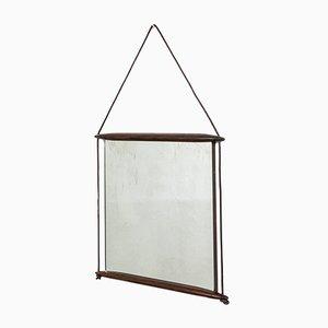 Specchio da parete con cornice in legno e nastro in pelle di Ico Luisa Parisi per MIM, anni '50
