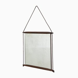 Wall Mirror with Wooden Frame and Leather Ribbon by Ico Luisa Parisi for MIM, 1950s