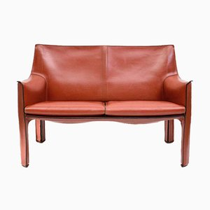 Cab 414 Leather 2-Seater Sofa by Mario Bellini for Cassina