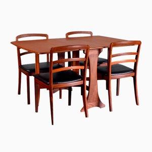 Table et Chaises de Salle à Manger en Teck et Similicuir de G-Plan, 1960s, Set de 5