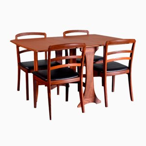 Teak and Leatherette Dining Table & Chairs from G-Plan, 1960s, Set of 5