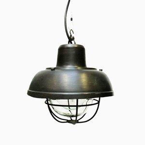 Petite Lampe à Suspension en Acier Patiné