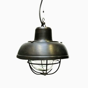 Small Suspension Lamp in Patinated Steel