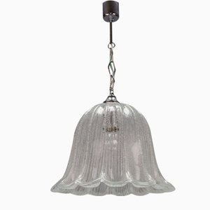 Vintage Bell Shaped Ice Glass and Chrome Pendant Lamp from Hustadt Leuchten