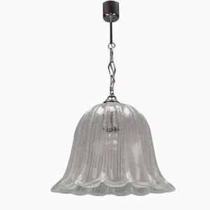 Vintage Glockenförmige Hängelampe aus Eisglas & Chrom von Hustadt Leuchten
