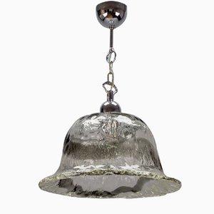 Lampe à Suspension en Forme de Cloche en Verre de Murano Givré et Chrome, Italie
