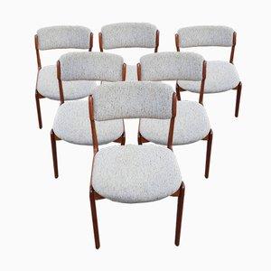 Mid-Century Modell 49 Esszimmerstühle aus Teak von Erik Buch, 6er Set