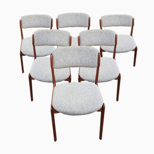 Mid-Century Teak Model 49 Dining Chairs by Erik Buch, Set of 6