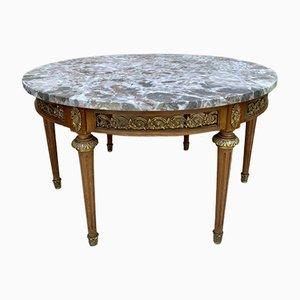 Französischer Louis XVI Tisch aus Bronze, rundem Marmor & Eiche, 20. Jh