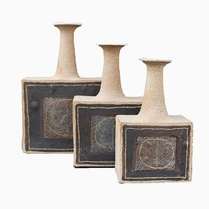 Italian Stoneware Vases with Abstract Motif by Bruno Gambone, 1990ss, Set of 3