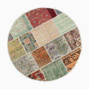 Mehrfarbiger runder Patchwork Teppich