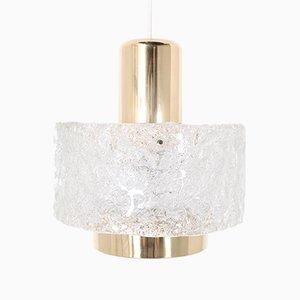 Brass & Glass Suspension Lamp by J. T. Kalmar