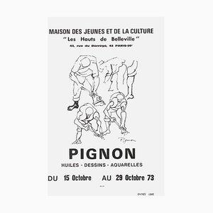 Poster Expo 73 Maison des Jeunes et de la Culture, Hauts de Belleville di Edouard Pognon