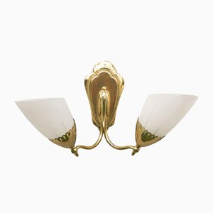 Brass and Glass Two-Arm Sconce, 1950s