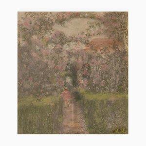 Into the Garden, mediados del siglo XX, pastel al óleo impresionista, William Mason, 1950