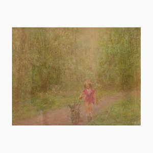 Ein Mädchen und ihr Hund, Mitte des 20. Jahrhunderts, Impressionistisches Öl Pastell, William Mason, 1950
