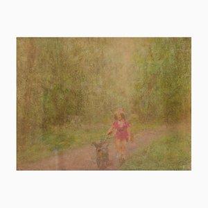 Une Fille et son Chien, Milieu du 20ème Siècle, Pastel à l'Huile Impressionniste, William Mason, 1950