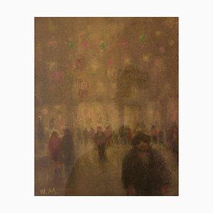 City Lights, Mid 20th Century, Impressionist Oil Pastel of Winter City, Mason, 1945