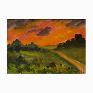 Sunset in the Country, Early 20th Century, Impressionist Piece, Michael Quirke, 2000