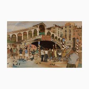 Venedig, Frühes 20. Jh., Impressionistisches Aquarell von Hubert Andrew Freeth, 1930er