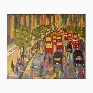 Oxford Street, finales del siglo XX, acrílico impresionista, Piece of London, Quirke, años 90