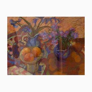 Pezzo di fiori e frutta impressionista, pastello, Olwen Tarrant