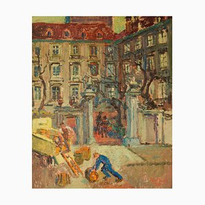 Left Bank Paris, Early 20th-Century, Impressionist Oil Painting by Ann Tooth, 1935
